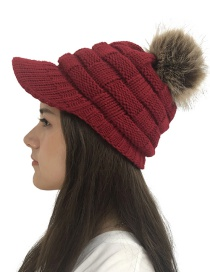Fashion Jujube Checkered Knit Wool Ball Wool Cap