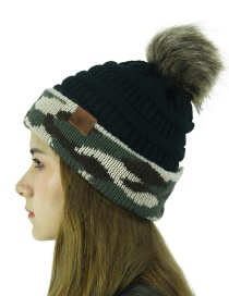 Fashion Black Cc Camouflage Ball Knit Wool Hat