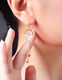 Fashion Gold Geometric Drop Glaze Flower Tassel Earrings