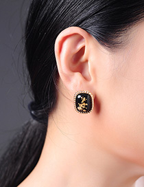 Fashion Black Geometric Drop Earrings