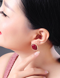 Fashion Red Geometric Drop Earrings