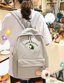 Fashion Gray Avocado Hair Ball Canvas Backpack