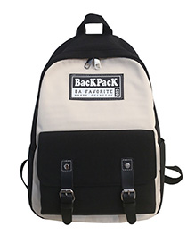 Fashion Black Labeled Contrast Stitching Backpack