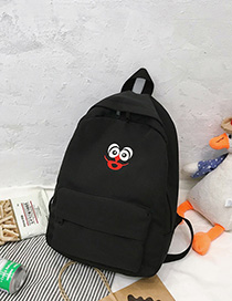 Fashion Black Smiley Embroidery Backpack