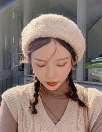 Fashion Curly Beige Rolled Wool Beret