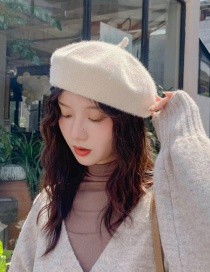 Fashion Short-haired Chenille Beige Short-haired Chenille Beret