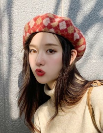 Fashion Contrast Diamond Shape Red Check Wool Wool Beret