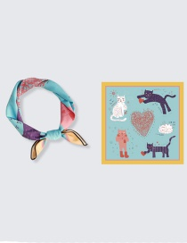 Fashion Love And Cat Chiffon Printed Silk Scarf