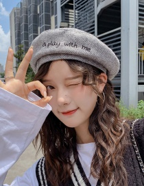 Fashion Play Gray Letter Thin Beret