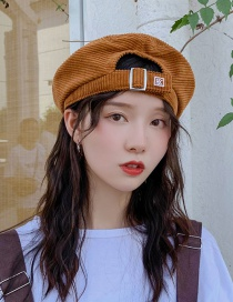 Fashion Overlapping Letter K Coffee Embroidered Letter Corduroy Beret