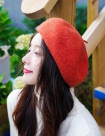 Fashion Upgraded Version Of Caramel Solid Color Wool Beret
