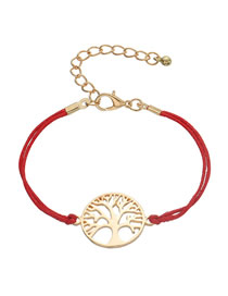 Fashion Pu Red Alloy Life Tree Braided Bracelet