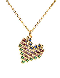 Fashion Gold Micro-encrusted Peach Heart Necklace