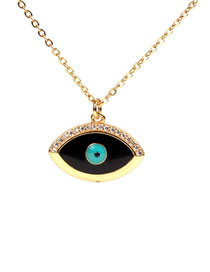 Fashion Black Drip Oil Eye Micro-inlaid Zircon Necklace