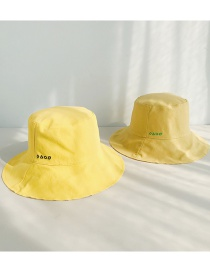 Fashion Four Geometric Embroidery Double-sided Yellow + Green Double-sided Solid Color Fisherman Hat