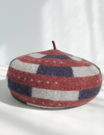 Fashion Dotted Stripe Wine Red Contrast Wool Beret