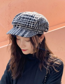 Fashion Wool Plaid Black Plaid Woolen Beret