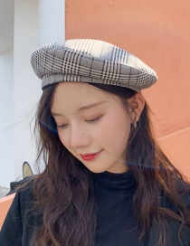 Fashion Suede Houndstooth Light Gray Gebeizi Lei Cap