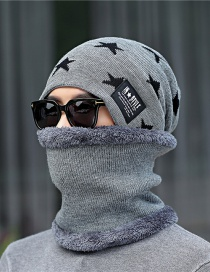 Fashion Gray Knitted Wool Bib Hat Two-piece