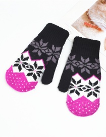 Fashion Black Knitted Double-layered Snowflake Mitt