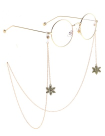 Fashion Gold Non-slip Metal Christmas Snowflake Glasses Chain