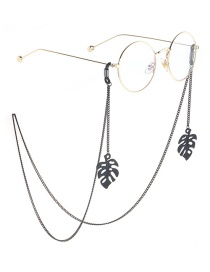 Fashion Black Hanging Neck Hollowed Out Leaves Chain