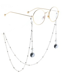 Fashion Silver Pearl Taiji Clip Bead Metal Chain Glasses Chain