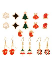 Fashion Color Christmas Earrings Earrings Set Of 9
