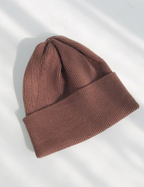 Fashion Light Board Thick Brown Double Cuff Knitted Sweater Cap  Wool