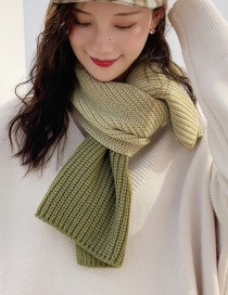 Fashion Two-color Stitching Light Green + Bean Green Stitched Two-tone Knit Short Scarf  Wool