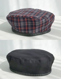Fashion Double Sided Lattice Black Double-sided Plaid Beret