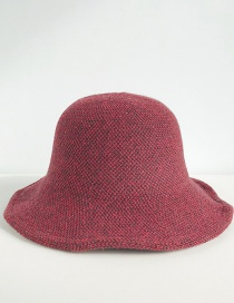 Fashion Two-tone Knit Wine Red Wool Knit Fisherman Hat