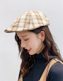 Fashion Cotton And Linen Gradient Lattice Khaki Plaid Beret