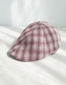 Fashion Cotton And Linen Gradient Plaid Purple Plaid Beret