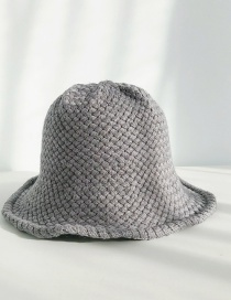 Fashion Bamboo Weave Dark Gray Knitted Wool Cap