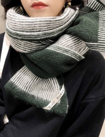Fashion Striped Hair Dark Green Knitted Woolen Striped Scarf