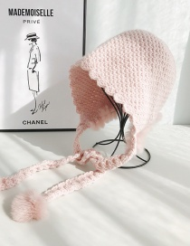 Fashion Rabbit Fur Hat Pink Woven Wool Ball Laced Wool Cap