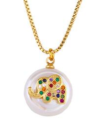 Fashion Elephant Natural Pearl Diamond Animal Necklace