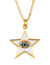 Fashion White Pentagram Star Oil Necklace
