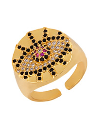 Fashion Gold Open Eye With Zircon Ring