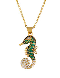 Fashion Seahorse Lobster Sea Horse Zircon Necklace