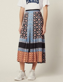 Fashion Color Contrast Stitching Printed Half Skirt