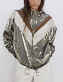 Fashion Silver Hooded Colorblock Jacket