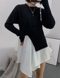 Fashion Black Posing White Knit Bottoming Shirt