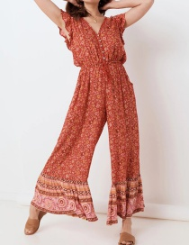 Fashion Red Red Big Flower Jumpsuit