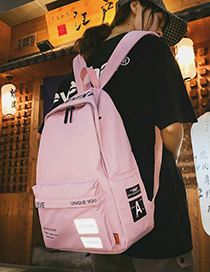 Fashion Pink Letter Printed Backpack