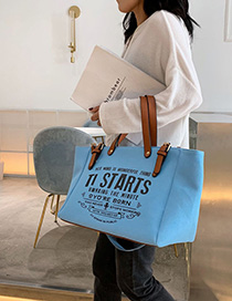 Fashion Blue Canvas Letter Print Crossbody Tote