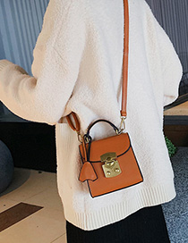 Brown Locked Hand Strap Shoulder Bag