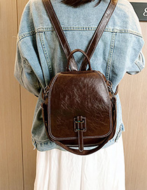 Brown Embroidery Thread Buckle Backpack