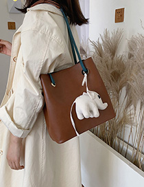 Brown Contrast Shoulder Bag
